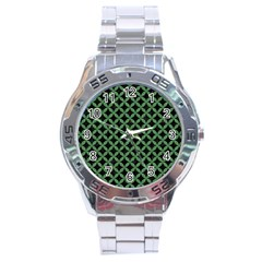 Circles3 Black Marble & Green Denim (r) Stainless Steel Analogue Watch by trendistuff