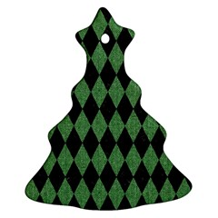 Diamond1 Black Marble & Green Denim Ornament (christmas Tree)  by trendistuff