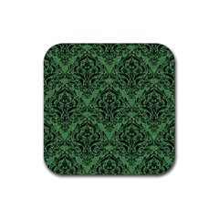 Damask1 Black Marble & Green Denim Rubber Square Coaster (4 Pack)  by trendistuff