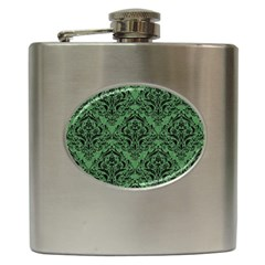 Damask1 Black Marble & Green Denim Hip Flask (6 Oz) by trendistuff