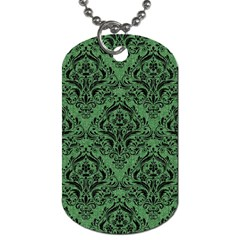 Damask1 Black Marble & Green Denim Dog Tag (two Sides) by trendistuff