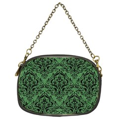 Damask1 Black Marble & Green Denim Chain Purses (one Side)  by trendistuff
