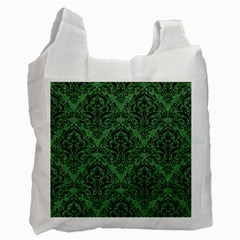 Damask1 Black Marble & Green Denim Recycle Bag (one Side) by trendistuff