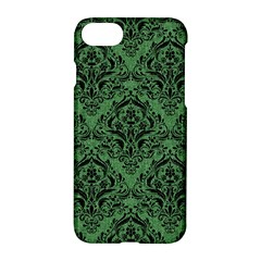 Damask1 Black Marble & Green Denim Apple Iphone 7 Hardshell Case by trendistuff