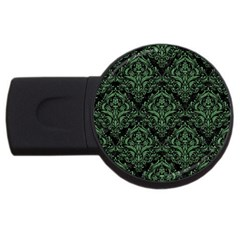 Damask1 Black Marble & Green Denim (r) Usb Flash Drive Round (4 Gb) by trendistuff