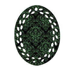 Damask1 Black Marble & Green Denim (r) Oval Filigree Ornament (two Sides) by trendistuff