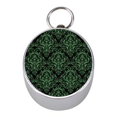 Damask1 Black Marble & Green Denim (r) Mini Silver Compasses by trendistuff