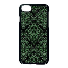 Damask1 Black Marble & Green Denim (r) Apple Iphone 8 Seamless Case (black) by trendistuff