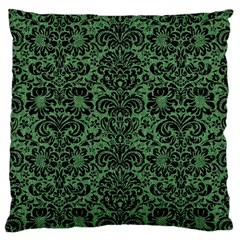 Damask2 Black Marble & Green Denim Large Cushion Case (two Sides) by trendistuff