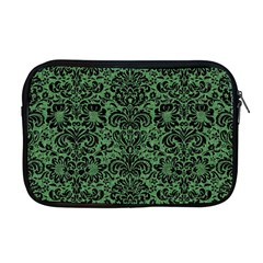 Damask2 Black Marble & Green Denim Apple Macbook Pro 17  Zipper Case by trendistuff