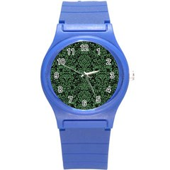 Damask2 Black Marble & Green Denim (r) Round Plastic Sport Watch (s) by trendistuff