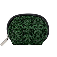 Damask2 Black Marble & Green Denim (r) Accessory Pouches (small)  by trendistuff
