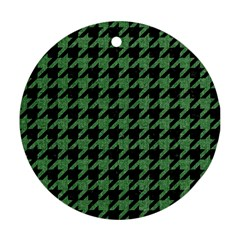 Houndstooth1 Black Marble & Green Denim Round Ornament (two Sides) by trendistuff