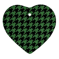 Houndstooth1 Black Marble & Green Denim Heart Ornament (two Sides) by trendistuff