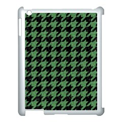 Houndstooth1 Black Marble & Green Denim Apple Ipad 3/4 Case (white)
