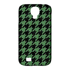 Houndstooth1 Black Marble & Green Denim Samsung Galaxy S4 Classic Hardshell Case (pc+silicone) by trendistuff