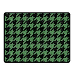 Houndstooth1 Black Marble & Green Denim Double Sided Fleece Blanket (small)  by trendistuff