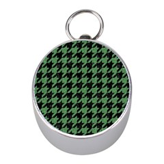 Houndstooth1 Black Marble & Green Denim Mini Silver Compasses by trendistuff