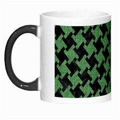 Houndstooth2 Black Marble & Green Denim Morph Mugs by trendistuff