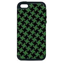 Houndstooth2 Black Marble & Green Denim Apple Iphone 5 Hardshell Case (pc+silicone) by trendistuff