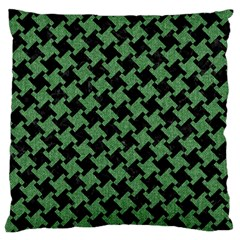 Houndstooth2 Black Marble & Green Denim Large Flano Cushion Case (one Side) by trendistuff