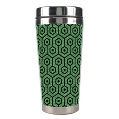 Hexagon1 Black Marble & Green Denim Stainless Steel Travel Tumblers by trendistuff