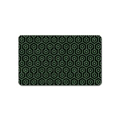 Hexagon1 Black Marble & Green Denim (r) Magnet (name Card) by trendistuff
