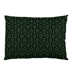 Hexagon1 Black Marble & Green Denim (r) Pillow Case by trendistuff