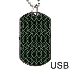 Hexagon1 Black Marble & Green Denim (r) Dog Tag Usb Flash (two Sides) by trendistuff