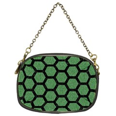 Hexagon2 Black Marble & Green Denim Chain Purses (two Sides)  by trendistuff
