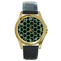 Hexagon2 Black Marble & Green Denim (r) Round Gold Metal Watch by trendistuff
