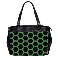 Hexagon2 Black Marble & Green Denim (r) Office Handbags (2 Sides)  by trendistuff
