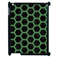 Hexagon2 Black Marble & Green Denim (r) Apple Ipad 2 Case (black) by trendistuff