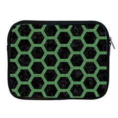 Hexagon2 Black Marble & Green Denim (r) Apple Ipad 2/3/4 Zipper Cases by trendistuff