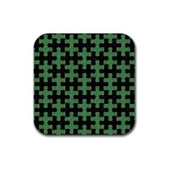 Puzzle1 Black Marble & Green Denim Rubber Square Coaster (4 Pack)  by trendistuff