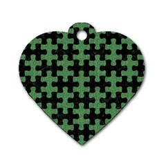 Puzzle1 Black Marble & Green Denim Dog Tag Heart (two Sides) by trendistuff