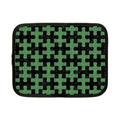 Puzzle1 Black Marble & Green Denim Netbook Case (small)  by trendistuff