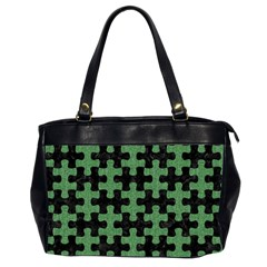 Puzzle1 Black Marble & Green Denim Office Handbags (2 Sides)  by trendistuff
