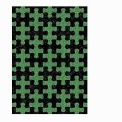 Puzzle1 Black Marble & Green Denim Large Garden Flag (two Sides) by trendistuff