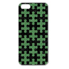 Puzzle1 Black Marble & Green Denim Apple Seamless Iphone 5 Case (clear) by trendistuff