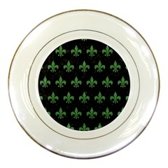 Royal1 Black Marble & Green Denim Porcelain Plates by trendistuff