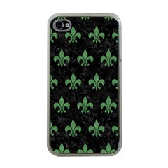 Royal1 Black Marble & Green Denim Apple Iphone 4 Case (clear) by trendistuff