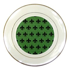 Royal1 Black Marble & Green Denim (r) Porcelain Plates by trendistuff