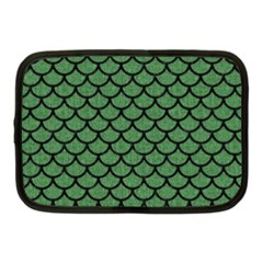 Scales1 Black Marble & Green Denim Netbook Case (medium)