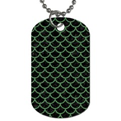 Scales1 Black Marble & Green Denim (r) Dog Tag (two Sides) by trendistuff