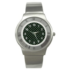 Scales1 Black Marble & Green Denim (r) Stainless Steel Watch by trendistuff