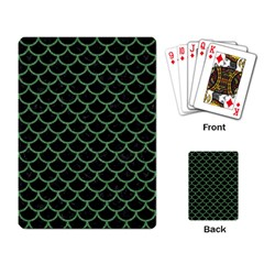 Scales1 Black Marble & Green Denim (r) Playing Card by trendistuff