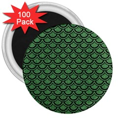 Scales2 Black Marble & Green Denim 3  Magnets (100 Pack) by trendistuff