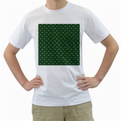 Scales2 Black Marble & Green Denim Men s T Shirt (white) (two Sided)