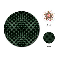 Scales2 Black Marble & Green Denim (r) Playing Cards (round)  by trendistuff